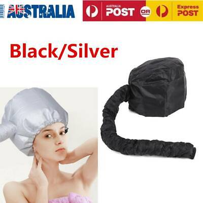 AU15.92 • Buy Soft Hair Drying Cap Portable Bonnet Hood Hat Blow Dryer Attachment Black/Silver