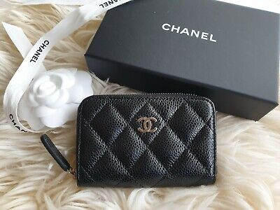 AU895 • Buy Chanel Classic Black Zippy Card Holder Brand New