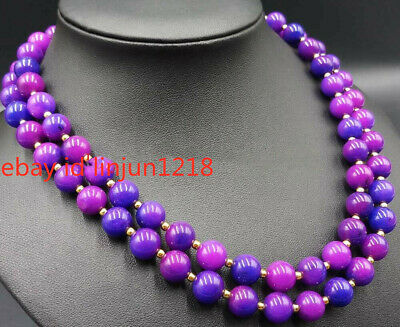 $9.99 • Buy 8mm Beautidul Purple Sugilite Round Beads Gemstone 2 Row Necklace 17-18 Inch