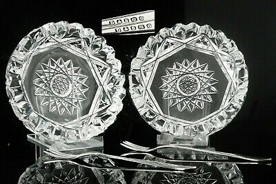 Cased Cut Glass Butter Dishes With Silver Plated Butter Forks , C.1900 • 45£