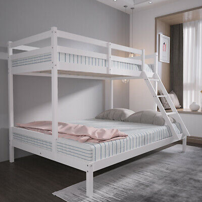 Bunk Bed Frame Triple Sleeper Solid Pine 3ft Top & 4ft6 Bottom Kid Bedroom Guest • 189.99£