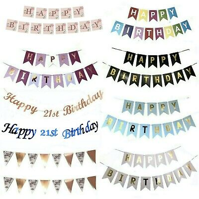 £2.99 • Buy Rose Gold Happy Birthday Bunting Banner Decorations Balloons Confetti Foil