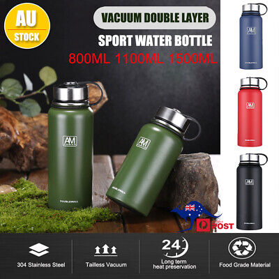 AU27.96 • Buy Stainless Steel Double-Wall Vacuum Water Bottle Insulated Sport Gym Bottles BPA