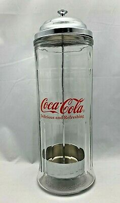 $6.89 • Buy 1992 COCA COLA Heavy Glass Straw Holder Dispenser Canister 11.5  Tall FAST SHIP!