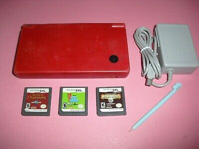 $54.99 • Buy Red DSi System W/ Charger & 3 Games! Mutant Insects! Nintendo Console