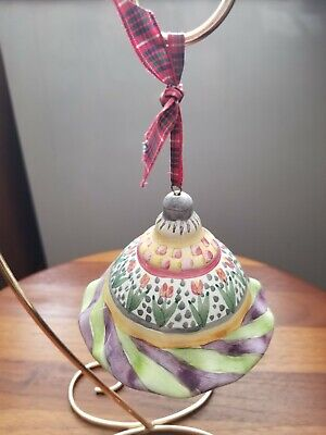 $95 • Buy Mackenzie-Childs Clay Bell Ornament - Multi-color With Flowers & Original Ribbon