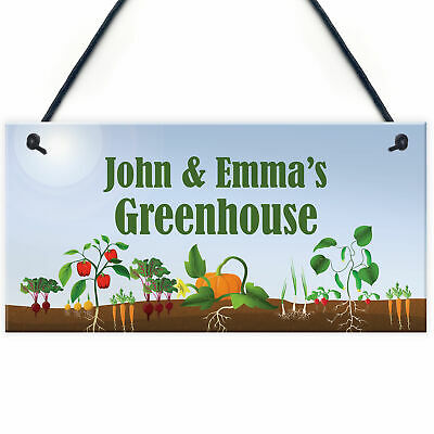 PERSONALISED Novelty Greenhouse Sign Garden Signs Allotment Shed Sign • 4.99£