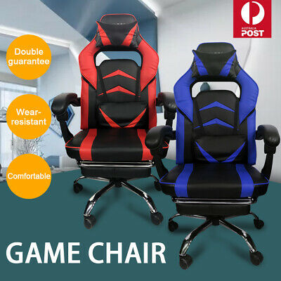 AU155.39 • Buy Gaming Chair Office Seating Footrest Racing Computer PU Leather Executive Racer
