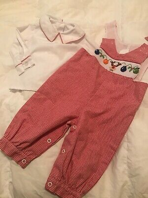 $18 • Buy Zuccini Smocked Embroider Gingham JonJon Romper Boys 3m Christmas 2 Piece Outfit