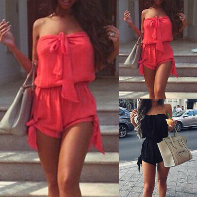 Women Summer Plain Off Shoulder Jumpsuit Strapless Holiday Mini Playsuit Dress • 7.67£