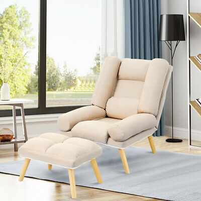 £119.95 • Buy Linen Fabric Armchair Daybed Sofa Bed Nap Chairs Recliner With Stool Home Office