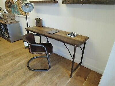 Industrial Rustic Reclaimed Hardwood & Metal Leg Folding Table / Desk 152 X 46cm • 238£