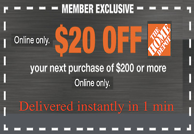 $1.80 • Buy TWO 2x Home Depot Coupon $20 OFF $200 ONLINE-USE-ONLY-- LNSTANT DELIVERY-NOW~~~~