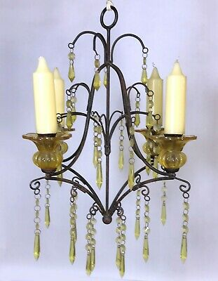Vintage Wrought Iron Candle Chandelier Metal Hanging Candelabra 19  X 14  • 29.43£