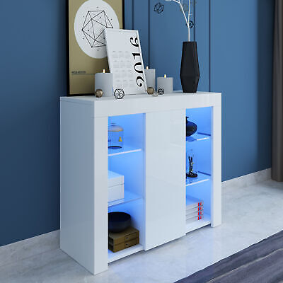 LED Display Sideboard Cabinet White High Gloss Front Storage Cupboard Unit • 89£
