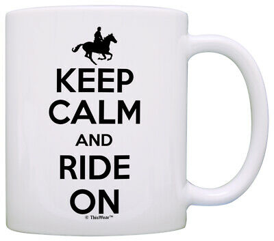 Horse Gifts For Horse Lovers Keep Calm And Ride On Coffee Mug Tea Cup • 12.38£