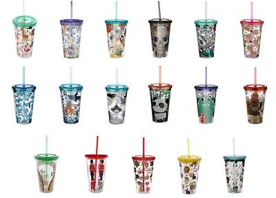 £9.95 • Buy Plastic Cup Double Walled With Straw And Lid Various Designs Hot Cold Drinks