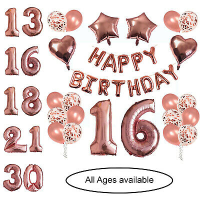 £8.99 • Buy Rose Gold Happy Birthday Foil Balloons Bunting Banner Numbers Decorations Set.