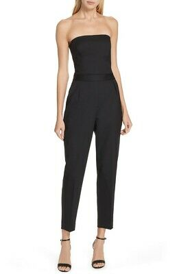 $79.99 • Buy Theory Black City Jumpsuit Strapless Tux Wool Size 12 NWT $495