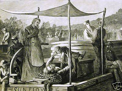 £20.58 • Buy CANAL BOAT RIVER FAMILY LIFE 1873 Antique Print Matted