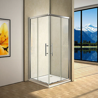 Corner Entry Double Sliding Shower Door Glass 185CM Walk In Cubicle & Stone Tray • 150.48£