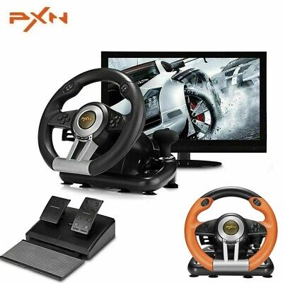 $139 • Buy Steering Wheel And Pedal Set For Xbox One PC PS3 PS4 Vibration Joysticks Pedals