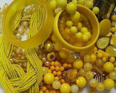 $ CDN14.99 • Buy  Vintage-Now Costume Junk Jewelry Lot Wear Repair Craft Parts Yellow Chunky Nice