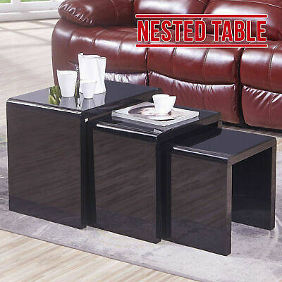 3 Nesting Tables & Black Glass Top High Gloss Black Round Angle Tables • 582.99£
