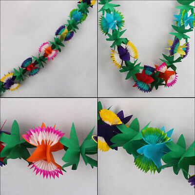 Colorful Hawaiian Luau Tropical Flower Garland Party Tropical  Decorations  • 3.96£