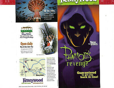 $8 • Buy Vintage 2001 Kennywood New Phantom's Revenge Fold Out Brochure
