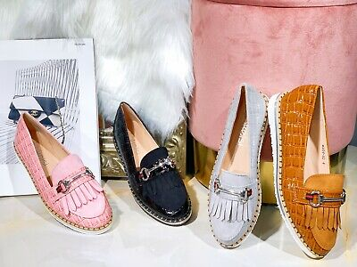 £13.99 • Buy Womens Ladies Flat Creeper Chunky Sole School Work Dolly Loafers Tassel Shoes