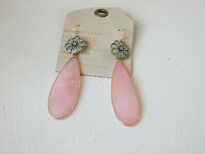 $ CDN43.98 • Buy Earrings Soft Pink Stone Anthropologie Flower Hook Drop Dangle $48