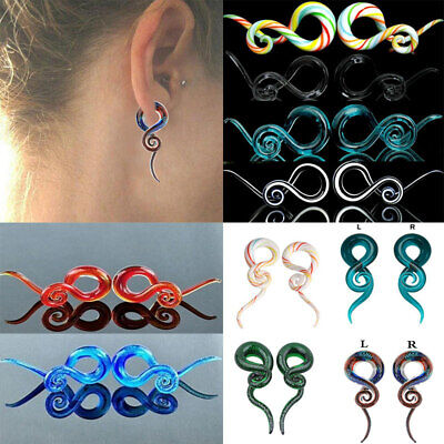 $4.99 • Buy 2pc Ear Tunnel Spiral Hand Made Glass Taper Ear Plugs Expander Stretcher Earring