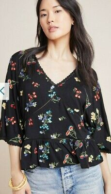 $ CDN47.55 • Buy Anthropologie Parvati Embroidered Black Floral Top Size XLarge NWT