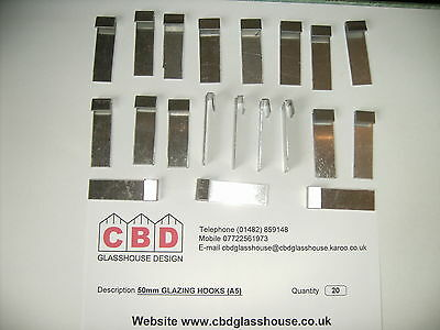 20 X Greenhouse Aluminium Glazing Clips For 4mm Glass *FREE 1st CLASS POSTAGE* • 6.95£
