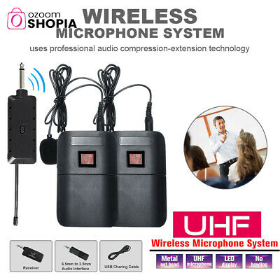 AU36.99 • Buy UHF Wireless Microphone Lavalier Lapel Mic Receiver Transmitter Dual Clips Set