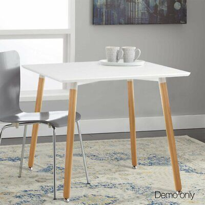 AU96.99 • Buy Wooden Square Retro Hot Beech Tables 4 Legs White Cafe Dining Table Wood Legs