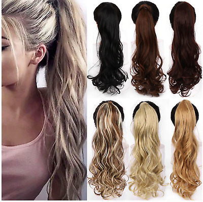 £5.99 • Buy Deluxe Clip In Ponytail As Human Hair Extension Piece Lustrous UK TOP