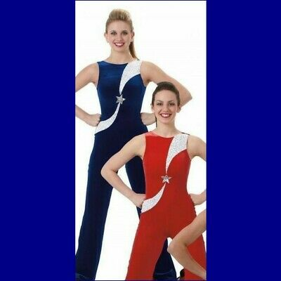 £12.71 • Buy All Star Dance Costume BLUE Leotard Tap Unitard Catsuit Cheer New Adult Large