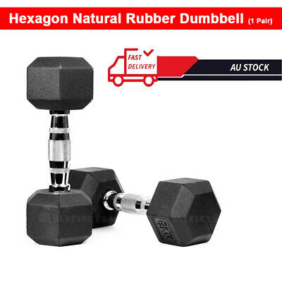 AU47.99 • Buy 1 Pair Hex Rubber Coat Iron Dumbbell Home Gym Strength Weight Training 5~10kg