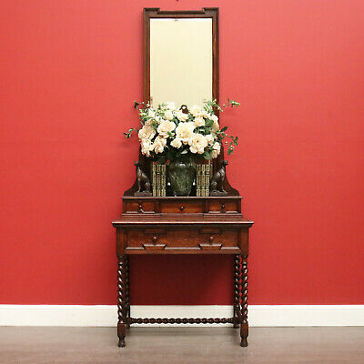 AU995 • Buy Antique English Dressing Table, Oak Mirror Back Dressing Table Hall Table