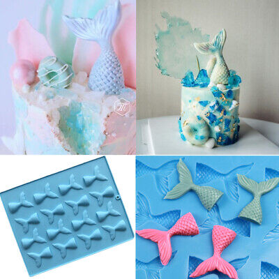 £3.99 • Buy Mermaid Tail Cake Mold Jelly Cookies Soap Chocolate Baking Mould Tray Ice Cube