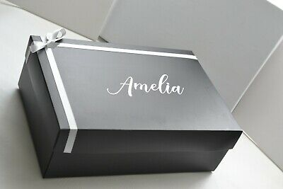 Large Personalised Gift Box With Ribbon & Bow 300 X 200 X 100mm (Flat Back Box) • 9.49£