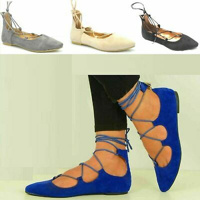 £9.99 • Buy New Womens Pointed Ballet Pumps Ladies Lace Up Ballerina Sandals Shoes Size S299