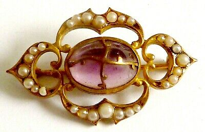 An Edwardian Gold Tone Brooch With Simulated Pearls & Purple Glass Stone • 28£