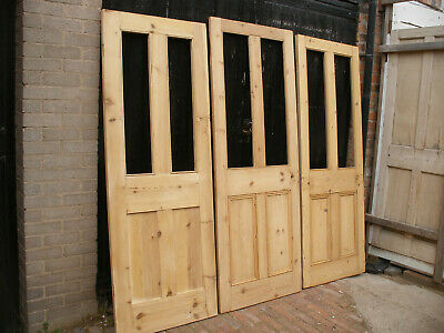 Reclaimed Victorian Stripped Pine Four Panel Doors. Glazed / For Glazing • 120£