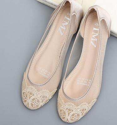 £17.99 • Buy New Ladies Lace Flat Heel Pumps Loafers Mesh Slip On Round Toe Ballet Shoes Size