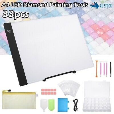 AU27.99 • Buy Art Craft DIY 5D Diamond Painting Tools + LED Pad Light Board With Stand Holder
