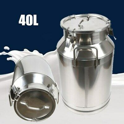 $112.04 • Buy Hot! 40L Stainless Steel Milk Can Wine Pail Bucket Tote Jug In One Piece USA