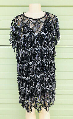 $39.99 • Buy NWT ZARA Black SILVER SEQUINNED FRINGED DRESS Short Sleeve Mini Size XXL  3071
